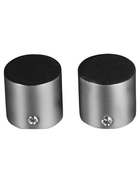 LIEDECO Endstück, Kappe, 16 mm, 2 Stück, Silber   Schwarz