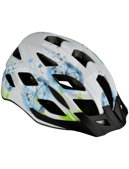 FISCHER FAHRRAEDER Fahrradhelm, Urban Flower, S/M, Weiß | Grün | Blau, Klickverschluss