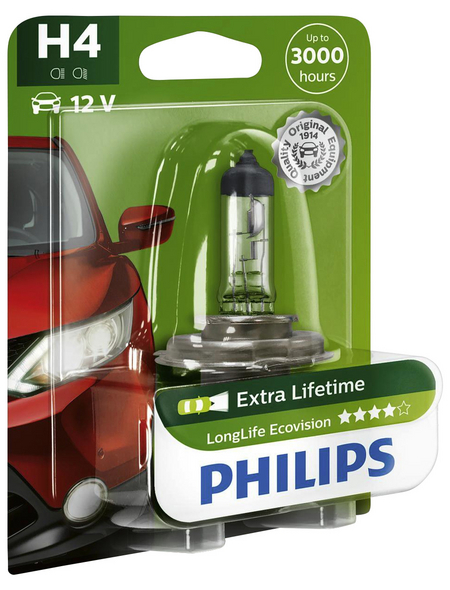 PHILIPS Fahrzeugscheinwerferlampe »LongLife Ecovision«, H4, 60/55 W