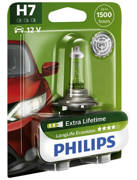 PHILIPS Fahrzeugscheinwerferlampe »LongLife Ecovision«, H7, 55 W