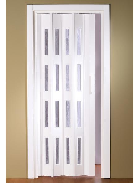 FORTE Falttür »Luciana«, Dekor: Weiß, Lamellenfenster: 4, Höhe: 202 cm