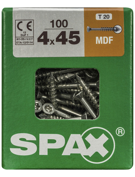 SPAX Faserplattenschraube, T-STAR plus, T15, Stahl, 100 Stück, 4 x 45 mm