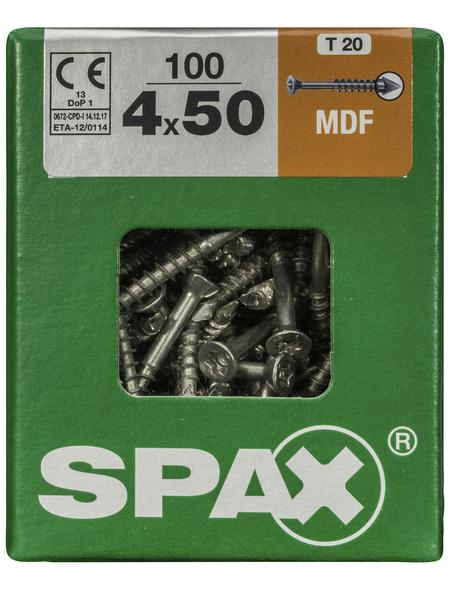 SPAX Faserplattenschraube, T-STAR plus, T15, Stahl, 100 Stück, 4 x 50 mm