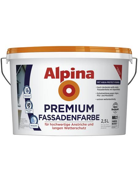 ALPINA Fassadenfarbe, weiß, 2,5 l