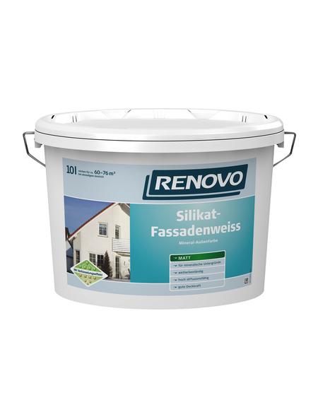 RENOVO Fassadenfarben, ca. 6 - 7,6 m²/l, weiß, matt, 10 l