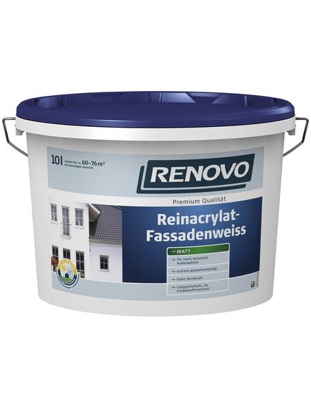 RENOVO Fassadenfarben, ca. 6 - 7,6 m²/l, weiß, matt, 2,5 l