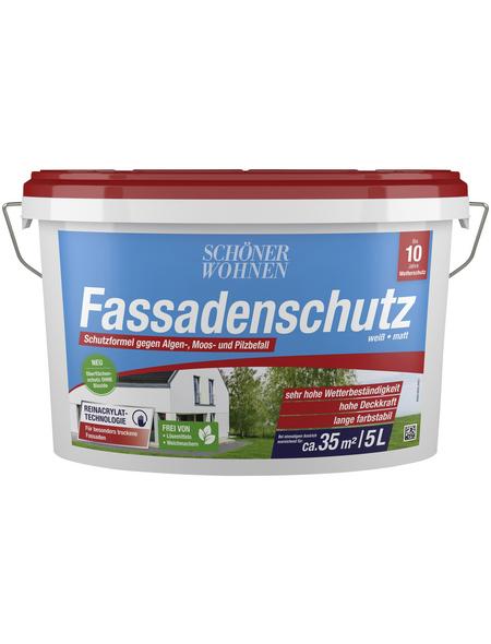 SCHÖNER WOHNEN FARBE Fassadenschutzfarbe, weiß, matt, 5 l