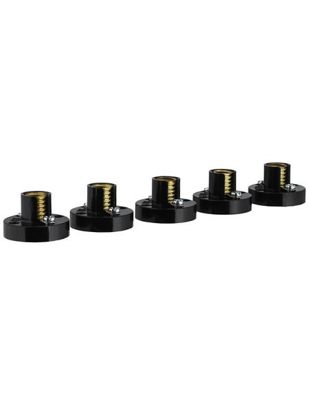 REV Fassung, Kunststoff, E10, 230 V, schwarz, 5 Stück