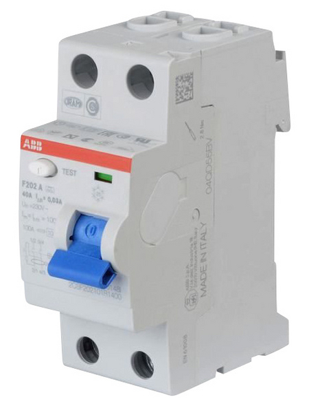 ABB Fehlerstromschutzschalter, F200, 2-polig 40/0,03 A, 40 A