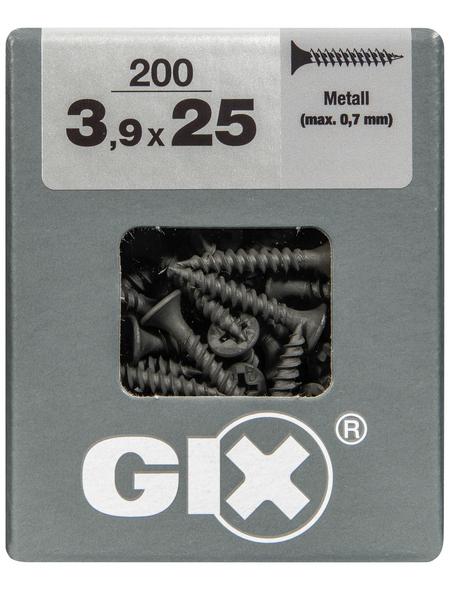 SPAX Feingewindeschraube, 3,9 mm, Stahl, 200 Stk., GIX A 3,9x25 L