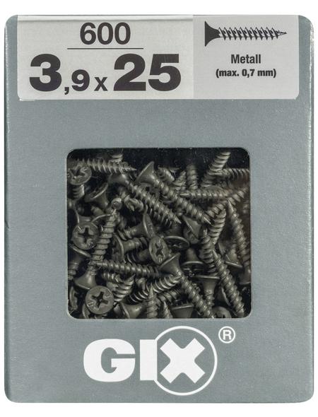 SPAX Feingewindeschraube, 3,9 mm, Stahl, 600 Stk., GIX A 3,9x25 XL