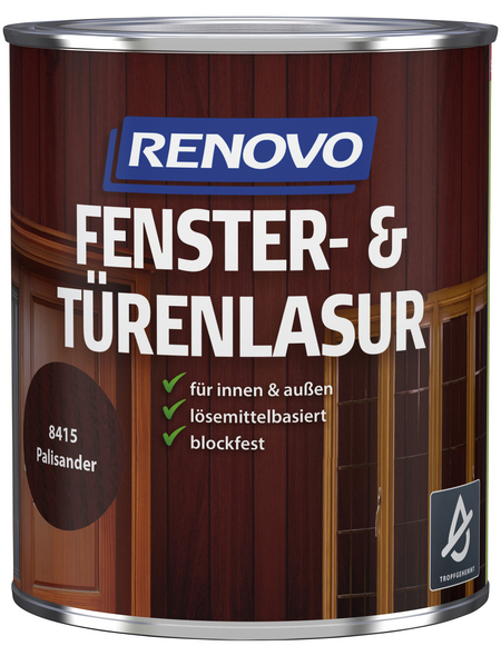 RENOVO Fenster- und Türenlasur, für innen & außen, 0,75 l, braun, seidenglänzend