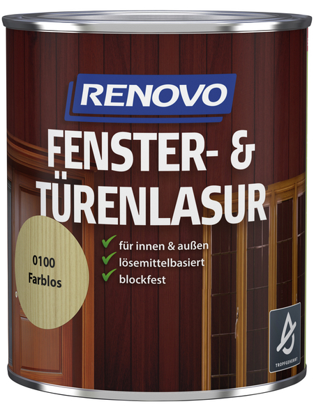 RENOVO Fenster- und Türenlasur, für innen & außen, 0,75 l, farblos, seidenglänzend