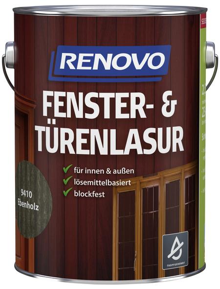 RENOVO Fenster- und Türenlasur, für innen & außen, 2,5 l, braun, seidenglänzend