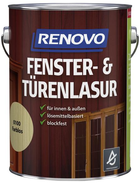 RENOVO Fenster- und Türenlasur für innen & außen, 2,5 l, farblos, seidenglänzend