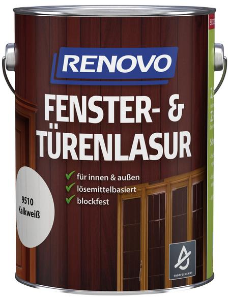 RENOVO Fenster- und Türenlasur, für innen & außen, 2,5 l, weiß, seidenglänzend