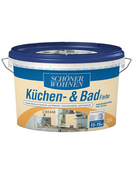 SCHÖNER WOHNEN FARBE Feuchtraumfarbe »Küchen- und Badfarbe«, creme, 2,5 l