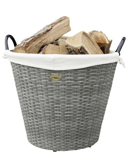 HABAU Feuerholzkorb, Grau   Beige, Rund, Durchmesser: 42 cm