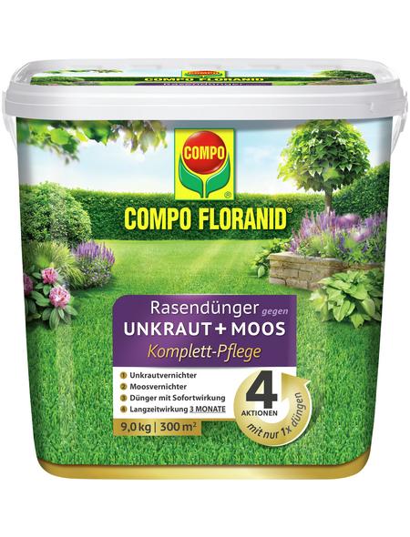 COMPO FLORANID® Rasendünger gegen Unkraut+Moos Komplett-Pflege 9 kg für 300 m²