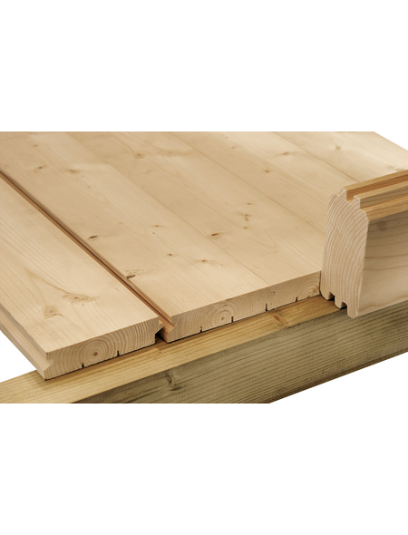 WOLFF Fußboden für Gartenhäuser, BxHxt: 380 x 1,8 x 250 cm, Fichtenholz