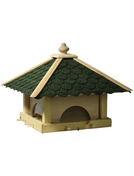 DOBAR Futterhaus, für Wildvögel, Kiefernholz/Kunststoff/Bitumen, natur/grün