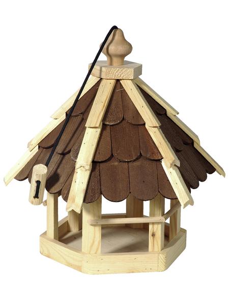 DOBAR Futterhaus, für Wildvögel, Kiefernholz, natur/braun