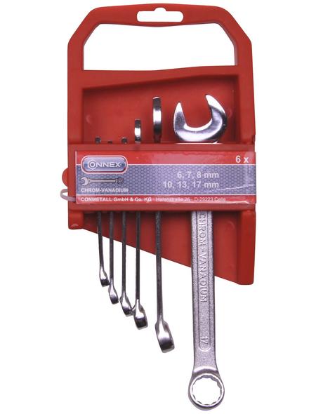 CONNEX Gabel-Ringschlüssel-Satz 6-teilig, Schlüsselgröße: 6 – 17 mm