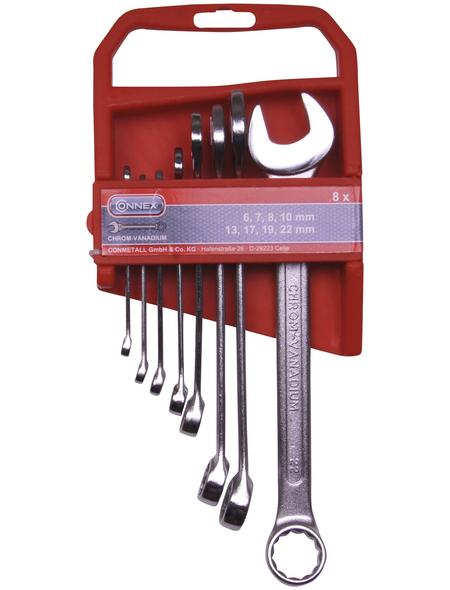 CONNEX Gabel-Ringschlüssel-Satz, 8-teilig, Schlüsselgröße: 6 - 22 mm