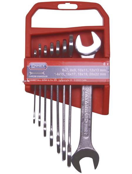CONNEX Gabel-Ringschlüssel-Satz 8-teilig, Schlüsselgröße: 6 – 22 mm