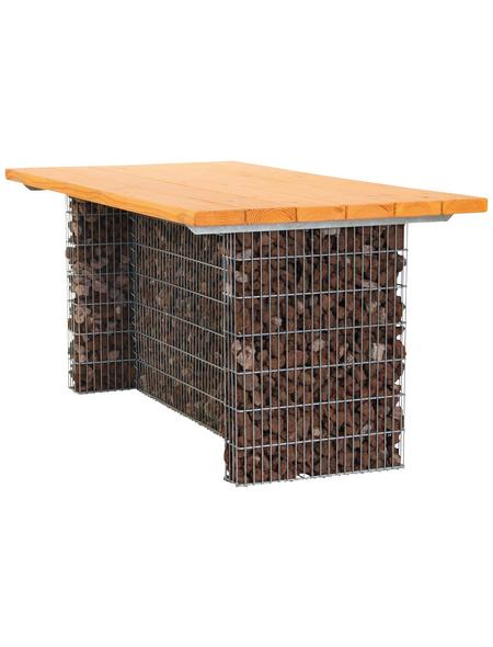 BELLISSA Gabionentisch, BxHxL: 83 x 74 x 165 cm, stahl/douglasienholz
