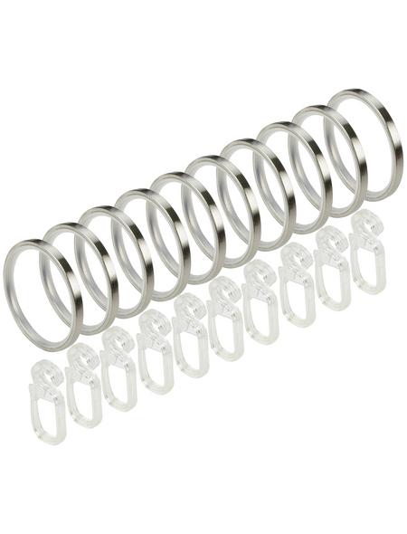 LIEDECO Gardinenring, mit Faltenlegehaken, Silber, 10 Stück, 25 mm