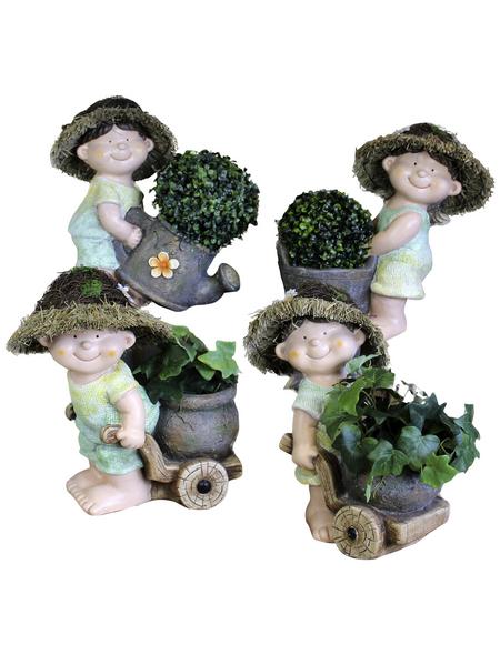 Goldbach Gartenfigur, Stehend mit Pflanze, Keramik, bunt