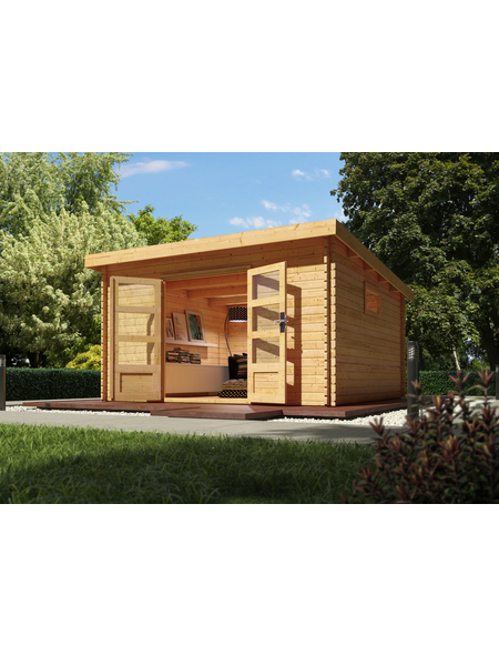 WOODFEELING Gartenhaus, BxT: 406 x 422 cm (Aufstellmaße), Pultdach