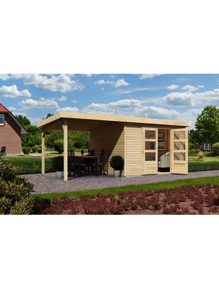 WOODFEELING Gartenhaus, BxT: 558 x 331 cm (Aufstellmaße), Flachdach