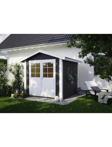 LUOMAN Gartenhaus »Lillevilla«, B x T: 272 x 322 cm, Satteldach, inkl. Fußboden