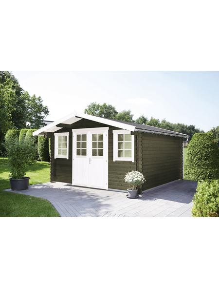WOLFF FINNHAUS Gartenhaus »Rotterdam«, BxT: 422 x 470 cm (Aufstellmaße), Satteldach