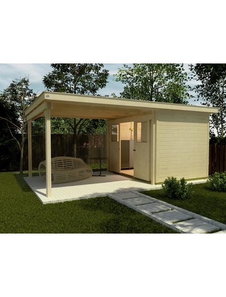 WEKA Gartenhaus-Set »Lounge mit Anbau, Gr. 4«, BxT: 529 x 338 cm (Aufstellmaße), Flachdach