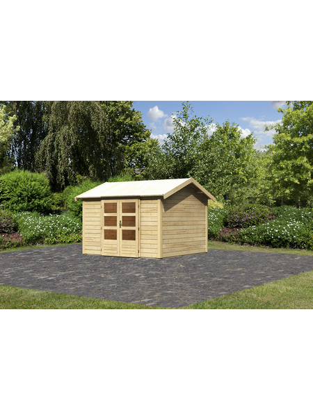 WOODFEELING Gartenhaus »Talkau 4«, BxT: 337 x 348 cm (Aufstellmaße), Satteldach