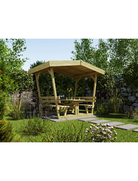 WEKA Gartenlaube, B x T: 300 x 203 cm, Satteldach