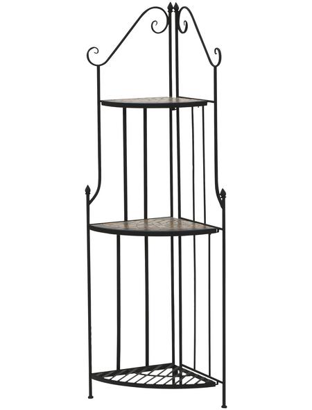 SIENA GARDEN Gartenregal »Prato«, Metall, schwarz, HxT: 140 x 34 cm