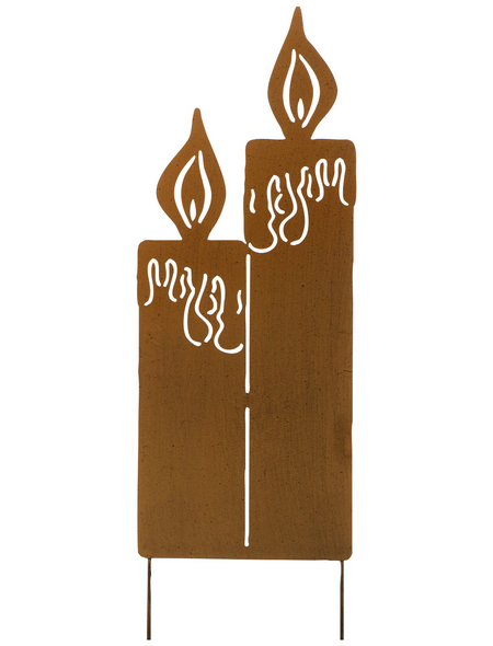 Gartenstecker, Kerze, Metall, rostfarben