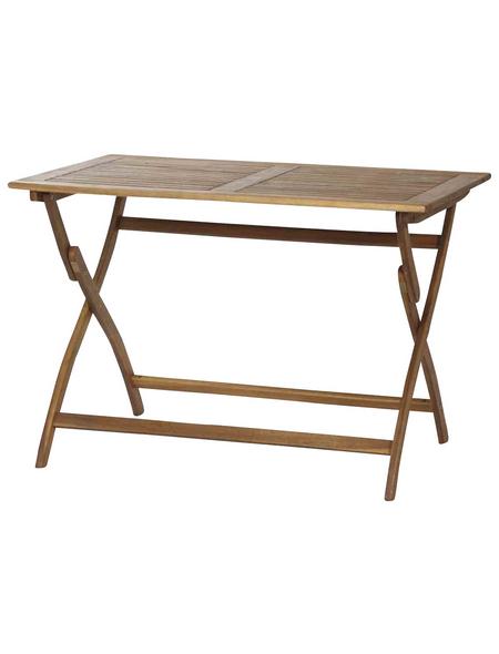 SIENA GARDEN Gartentisch, mit Akazienholz-Tischplatte, BxTxH: 110 x 70 x 74 cm