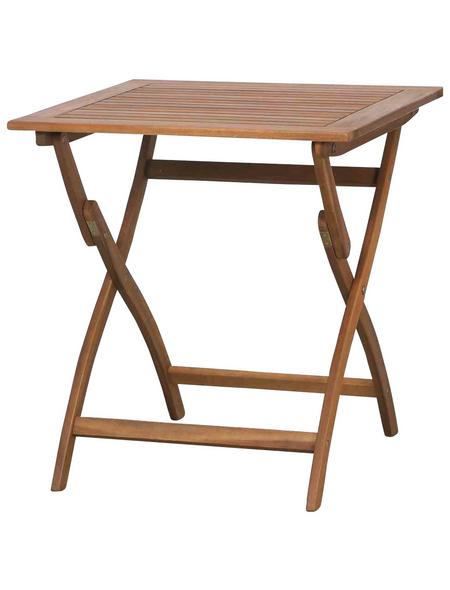 SIENA GARDEN Gartentisch, mit Akazienholz-Tischplatte, BxTxH: x 70 x 74 cm