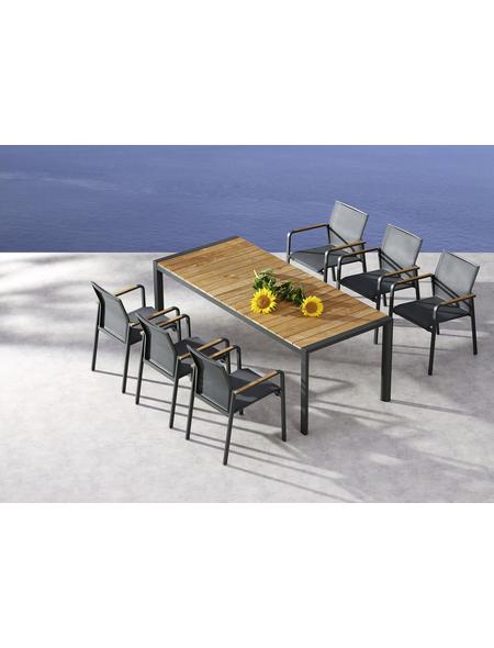 BEST Gartentisch »Paros«, mit Teakholz-Tischplatte, BxTxH: 210 x 90 x 76 cm