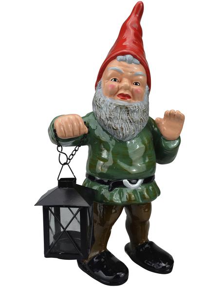 HEISSNER Gartenzwerg, Waldemar mit Laterne, Höhe: 34  cm, Keramik, bunt