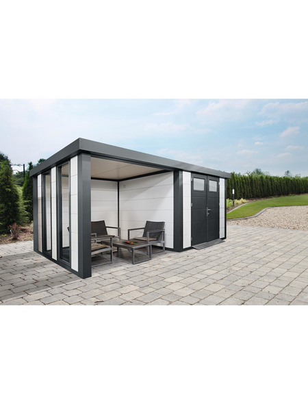 WOLFF FINNHAUS Gerätehaus »Eleganto 3024«, 30,8 m³, BxT: 582 x 238 cm mit Lounge