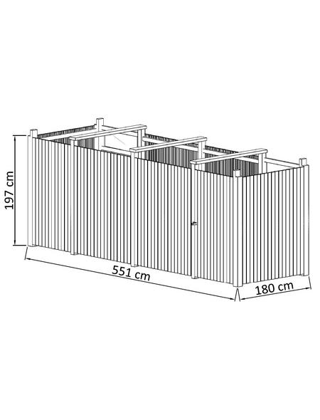 MR. GARDENER Geräteraum »Hamburg 2«, B x T: 551 x 173 cm, braun