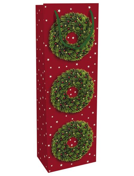 Geschenktasche Festlicher Kranz, 12x37x8 cm, glänzend