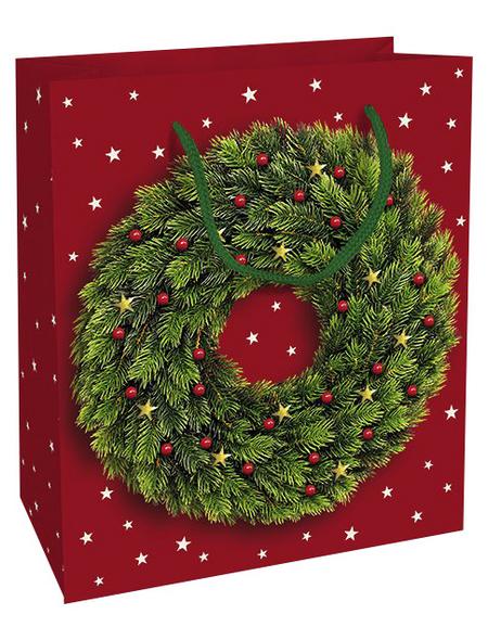 Geschenktasche Festlicher Kranz, 18x21x8 cm, glänzend
