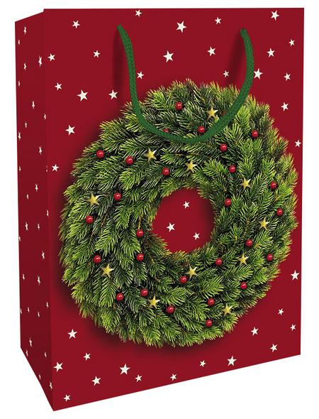 Geschenktasche Festlicher Kranz, 25x33x11 cm, glänzend